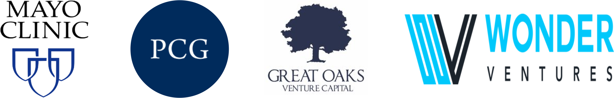Logos for Mayo Clinic, PCG, Great Oaks Venture Capital, and Wonder Ventures